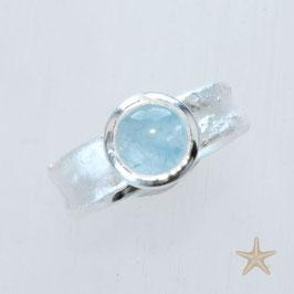 Unikat Ring, handgefertigt , Aquamarin in Silber, mit Struktur