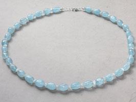 Edelsteinkette, Aquamarin, oval mit Perle, 8x10mm,925 Silber