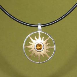 kleiner Sonnenanhänger mit Citrin, 925 Silber