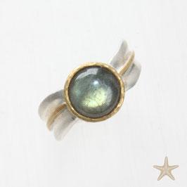 Unikat Ring handgefertigt mit Labradorit , in 925/er Silber und 900/er Gold