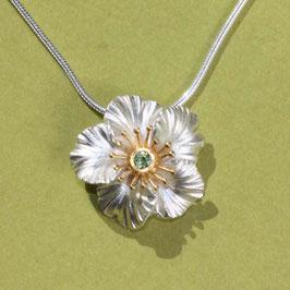 Hibiskus Blüten Anhänger ,klein mit Peridot