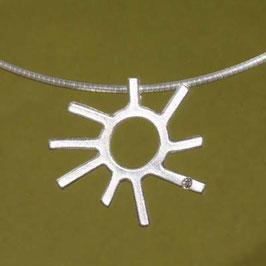 Sonnen Anhänger Silber mit Brillant,klein