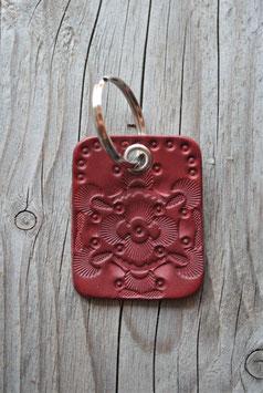 Porte-clés en cuir rouge