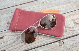 Etui à lunettes cuir rouge carmin