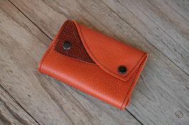 Portefeuille bicolore en cuir orange et marron brillant
