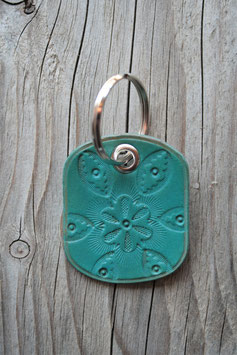 Porte-clés en cuir turquoise