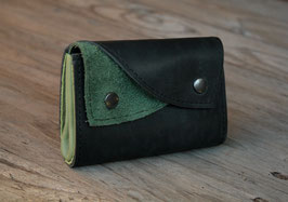 Portefeuille bicolore en cuir noir et vert