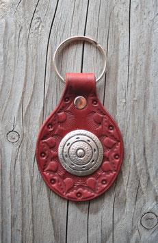 Porte-clés en cuir rouge et concho