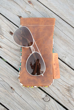 Etui à lunettes cuir marron effet vieilli