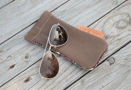 Etui à lunettes cuir marron étoupe
