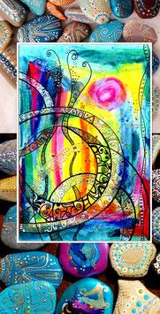 Kunstkarte Farbenmeer mit Steine
