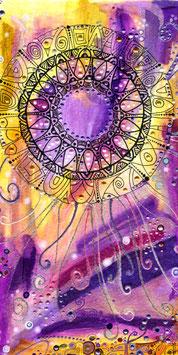 Kunstkarte leuchtend und fröhliches Mandala