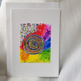 A5-Karte Regenbogen Spirale (6 Stk. sofort Verfügbar)