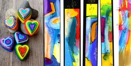 Kunstkarte bunte Herzen mit Kunst kombiniert