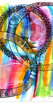 Kunstkarte fröhliche Farben Mandala Style