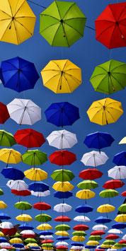 Fotokarte Bunte Regenschirme