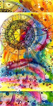 Kunstkarte fröhliches Farbenmeer im Mandala Style