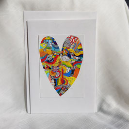 A5-Karte Buntes, fröhliches Herz (5 Stück sofort verfügbar)
