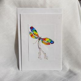 A5-Karte Kunstbild Regenbogen Libelle (7 Stück sofort verfügbar)