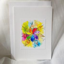 A5-Karte Regenbogen Blume (7 Stück sofort verfügbar)