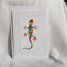A5-Karte Regenbogen Gecko ( 5 Stück sofort verfügbar)