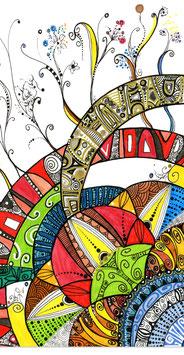 Kunstkarte Muste und Formen Mandala Style
