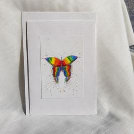 A5-Karte Regenbogen Schmetterling (3 Stück sofort verfügbar)