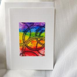 A5-Karte Regenbogen Mandala Style (3 Stück sofort verfügbar)