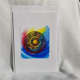 A5-Karte Kunstbild leuchtendes Regenbogen in Mandala-Style (7 Stück sofort verfügbar)