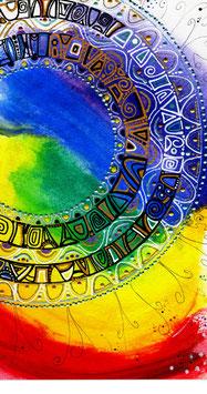 Kunstkarte Regenbogen Mandala Style