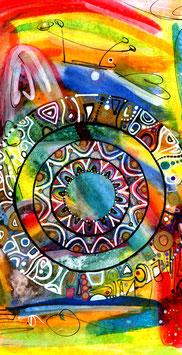 Kunstkarte Bunt, fröhlich Mandala Style