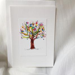 A5-Karte Kunstvoller Baum  ( 7 Stück sofort verfügbar)
