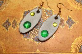 Kristall Ohrringe Zweierlei Grün