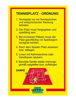 Hinweisschild für Platzordnung - Regeln