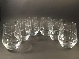 VE105-Service de 6 verres à Whisky spirales. Motif unique.