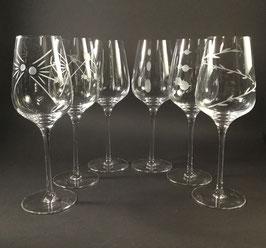 VE101- Service de 6 verres avec motifs au choix.
