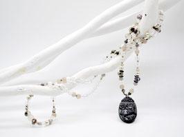 Unikat Mala Bergkristall Jade-Amulett