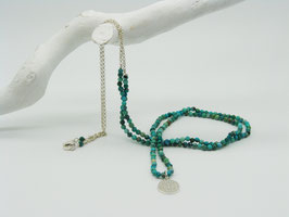 Stein/Silberkette mit Symbolanhänger, versch. Farben