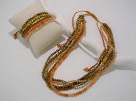 5reihige Kette + Armband, versch. Farben