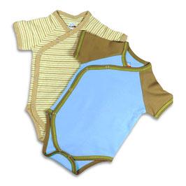 Geschenkset 2er Wickelbodys - blau/beige