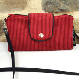 Portefeuille Nomade Velours rouge