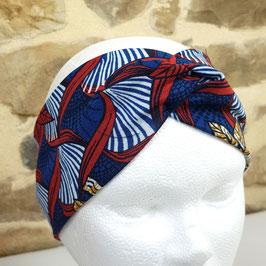 Headband Twist jersey wax bleu et rouge