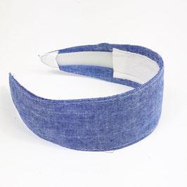 Serre tête bandeau chambray bleu