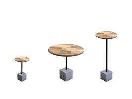 CUBO Beton Holz Beistelltisch  Stehtisch Bistrotisch Esstisch modern minimalistisch Wohnzimmertisch Design Terassentisch