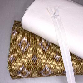 Stoffpaket Big Knit von Albstoffe gemustert + Bündchen