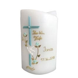 Taufkerze Jonas mit Kreuz und Blüamli