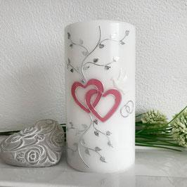 Hochzeitskerze Nele mit Herzen in altrosa