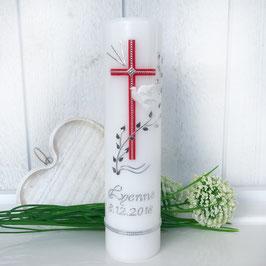 Taufkerze Isabel mit Kreuz in rot