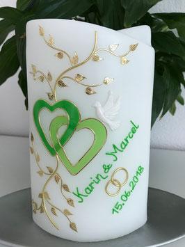 Hochzeitskerze Chiara mit grüne Herzen
