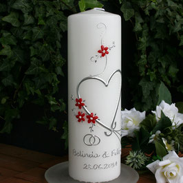 Hochzeitskerze Belinda mit Herz/Blüamli